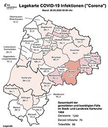 Eine Karte informiert Bürger aktuell über die Corona-Situation im Kreis Karlsruhe.
