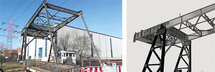 Holzhafen-Klappbrücke im Harburger Hafen und 3D-Bestandsmodell der Brücke.
