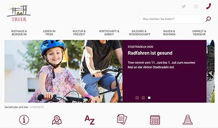 Nutzerfreundlich gestaltet: Die neue Startseite des Trierer Stadtportals.