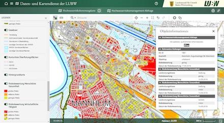 Die Hochwasser-Risikogebiete in Mannheim sind rot dargestellt.