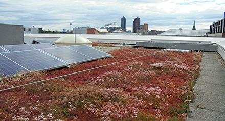 Die Photovoltaikanlage auf dem Dach erzeugt klimafreundlichen Strom für die Landesvertretung Baden-Württemberg in Berlin.
