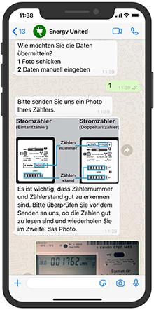 Die KI-gestützte Branchenlösung WhatsEnergy ermöglicht es Nutzern, ihren Zählerstand über WhatsApp oder andere Messenger-Dienste zu übermitteln.