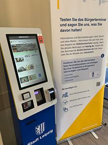 An drei Standorten in Leipzig können Bürger nun die neuen Service-Terminals der Stadtverwaltung testen.