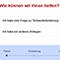 Über den blauen Service & Support-Button kommen Nutzer direkt zum Frageassistenten.