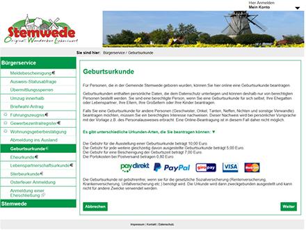 Auch für die Gemeinde Stemwede hat das krz neue Online-Dienste etabliert und freigeschaltet.