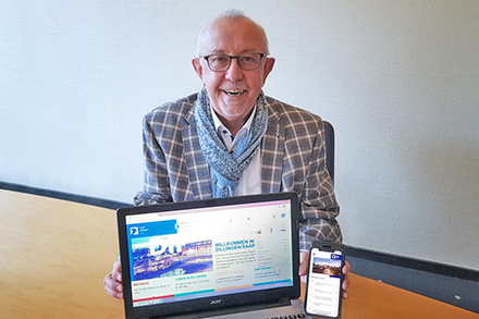 Bürgermeister Franz-Josef Berg präsentiert das neue Online-Angebot der Stadt Dillingen/Saar.