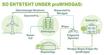 So entsteht nach Angaben von Greenpeace Energy die Zusammensetzung von proWindgas.