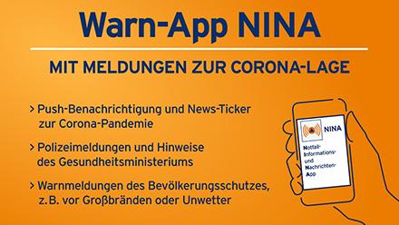 Die bundesweite Warn-App NINA sendet ab sofort Meldungen zur Corona-Lage.