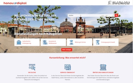 Erweitertes Online-Angebot der Stadt Hanau.