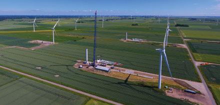 Repowering-Projekt auf dem Dirkshof im nordfriesischen Sönke-Nissen-Koog.