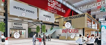 Gäste können sich virtuell durch die digitale Messehalle des IT-Dienstleisters Dataport bewegen.