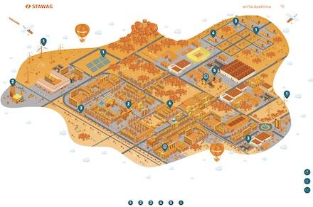 Auf einer interaktiven Karte visualisiert die STAWAG ihre Klimastrategie.