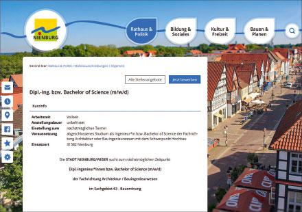 Die Stadt Nienburg setzt auf integrierte Stellenanzeigen.