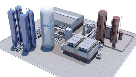 Grafische Darstellung des Flüssigluft-Energiespeichers.