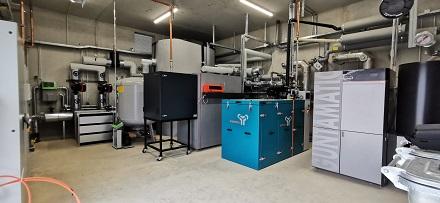 Im Innern der Energiezentrale für das Baugebiet Neue Mitte in Lamme.