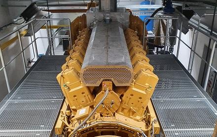 Wird in Oberhausen für Wärme und Strom sorgen: ein Caterpillar CG260-16 Gasmotor.