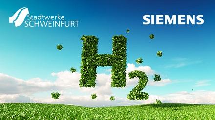 Die Stadtwerke Schweinfurt und Siemens informieren über die industrielle Anwendbarkeit von Wasserstoff in der Region Mainfranken.