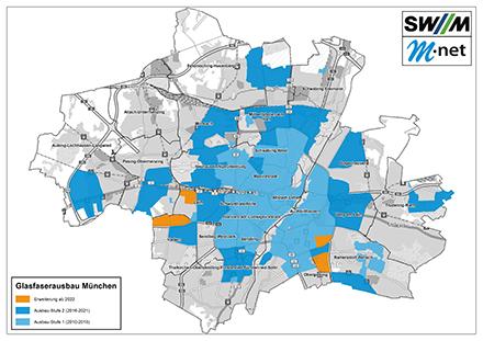 Mit 17.000 zusätzlichen Netzanschlüssen versorgen die Stadtwerke München (SWM) und Glasfaseranbieter M-net die bayerische Landeshauptstadt.