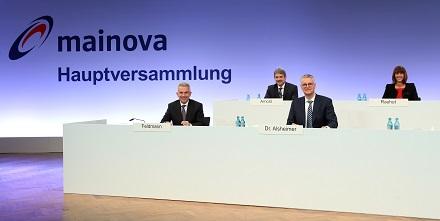 Das Podium der Mainova-Hauptversammlung 2021.