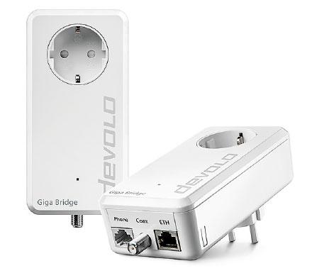 Alternative zu neuen Kabeln: Adapterset der devolo Giga Bridge.