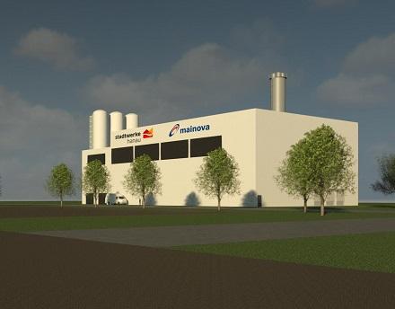 Modell des auf dem Areal der ehemaligen Großauheim-Kaserne geplanten modernen Gasmotoren-Blockheizkraftwerks.