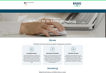 Über das Online-Portal des Bundesverwaltungsamtes können Anträge online gestellt und Dokumente hochgeladen werden.