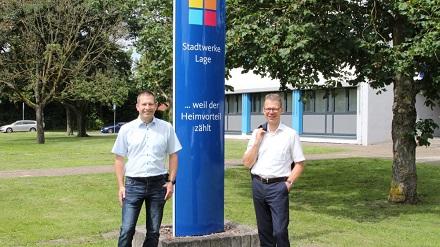 Michael Wippermann (r.) und Jörg Mikus setzen weiter auf den Heimvorteil der Stadtwerke Lage.