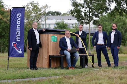 Vorstellung des Bewässerungssystems auf dem Konzerngelände der Mainova AG in der Frankfurter Solmsstraße.
