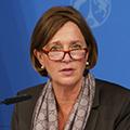 Schul- und Bildungsministerin Yvonne Gebauer bei der Vorstellung der Digitalstrategie.